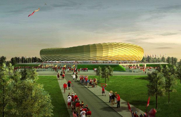 Макет стадиона Балтика в Калининграде, который будет построен к чемпионату мира по футболу 2018 года