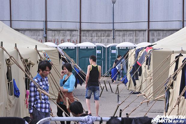 Лагерь для мигрантов в Гольянове